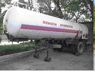 The automobile tank for transportation of a liquefied gas (propane-butane) of 10,5 CBM.