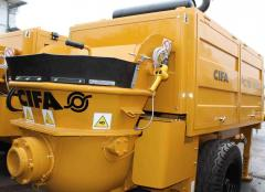 Construction equipment, machines and equipment for concrete work, betononasosny installations, concrete pumps stationary