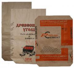 The multilayer paper bags (opened, closed) with