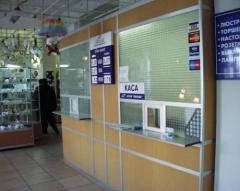 Show-windows for cash desks (cash boxes, counters