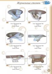 Столы журнальные из стекла и полимербетона