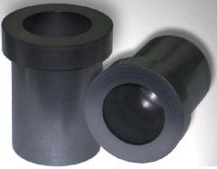 Crucibles graphite, products shaped of graphite