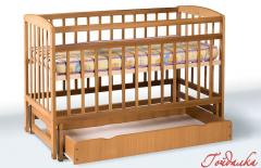 Bed on hinges with a box, material: beech,