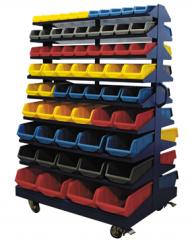 Ящики пластиковые, стеллажи с ящиками