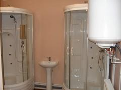 The bathroom with shower cabins the size is 3*6 m