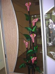 Stained-glass windows in cases - a compartment,