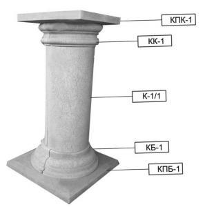 Columns, socles and capitals of columns