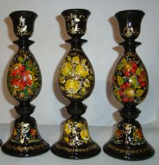 Подсвечники деревянные с декоративной росписью.