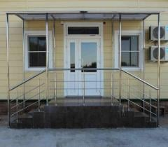 Canopy and handrail from a stainless steel.