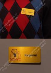 Business cards metal, Metal badges