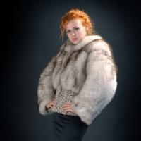 Short fur coat from fur of a polar fox. A short
