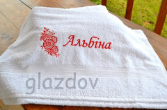 Towel with a name, a towel with an embroidery