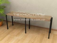 Bench on a metal framework