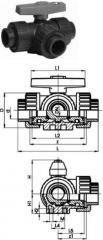 Трёхходовой шаровой кран тип 343,  PVC-U, ...