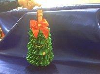 Украшение новогоднего шампанского-мешок-елочка