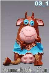Moneybox cow of 23 cm