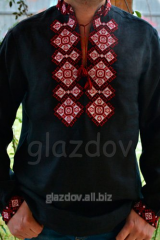 Black men's vyshyvanka with embroidered