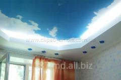 Натяжные тканевые бесшовные  потолки и стены