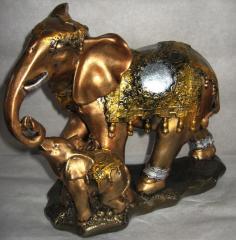 Статуэтка слон семья лак