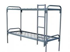 Bed army metal two-story with a ladder