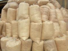 Sawdust in bags