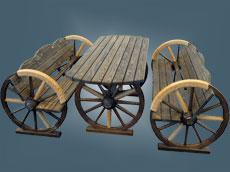 Стол и лавки на колесах