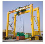 Rear container loading cranes on pneumowheel to