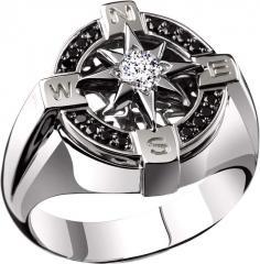 Золотое мужское кольцо с черными бриллиантами — К