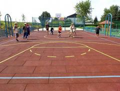 Rubber tile for a playground, terraces, the sports