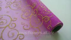 Органза с глиттером розовая