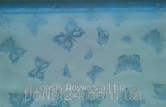 Органза флокированная голубая