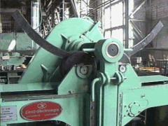 The machine is bending, metal rolling