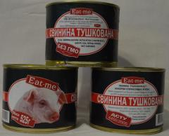 Canned meat: Pork stewed, liver pork pate, porridge pearl-barley with Eat-Me pork in can from the producer of LLC Meat-processing Plant Kupyansky