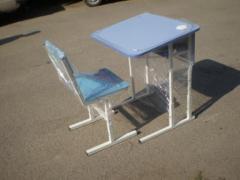 School desks and tables school on a metal
