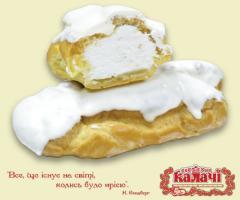 Трубочка заварна з кремом з білою глазурью, пирожные опт от производителя, кондитерское предприятие КАЛАЧИ