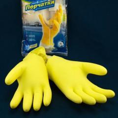 Plastic gloves on cardboard slip