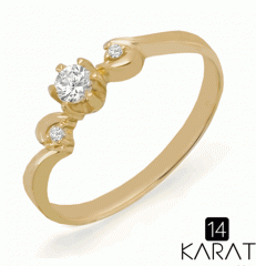 The Golden Ring with diamonds 0,15 carat (the