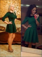 Платье-клеш с черным строгим воротничком модель №