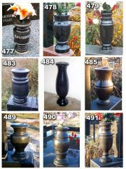 Vases, flower beds, rail-posts, arches, steles