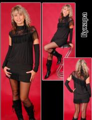 Коктейльное платье с бахромой и съёмными рукавами