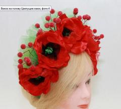 Венок «Цветущие маки» Венок на голову