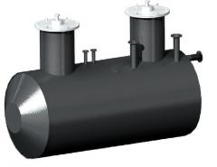 The tank steel horizontal cylindrical for storage