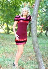 Платье коктейльное с велюром рукава Буфы-Эскада