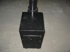 Potbelly stove on firewood