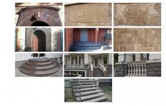 Facing of facades of buildings marble and granite.