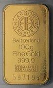 Gold ingots of 100 g stamp