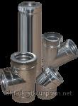 Дымоход двустенный d=120/180 мм из нержавеющей стали 0,8 мм в оцинкованном кожухе