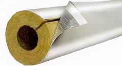 Базальтовая скорлупа для труб, плотность  80 кг/м3, фольгированная , толщина 30 мм,  диаметр 45 мм