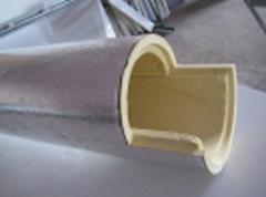 Наружное утепление труб, покрытие фольгопергамином, D 57мм, толщина слоя изоляции 40 м