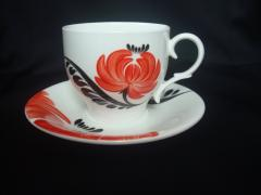 Cup porcelain with a saucer of